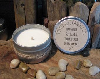 Creme Brulee 8 oz. Soy Wax Candle Travel Tin  Handmade