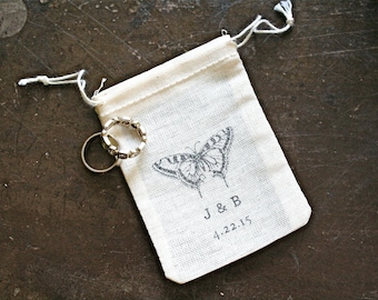 Personalized wedding ring bag, rustic cotton ring bag, ring warming, ring bearer, vintage butterfly, initials and wedding date, ring pouch