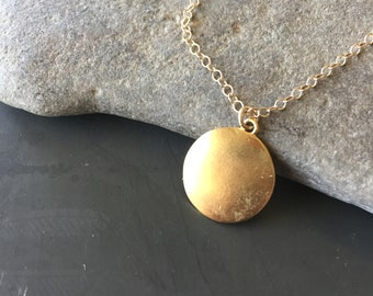 Charlotte Matte Gold Circle on Gold-Filled Chain Necklace - Round Gold Pendant