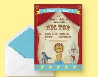 Circus Carnival Custom birthday printable party invitation