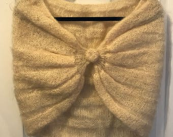 Vintage 1960s cream mohair shrug