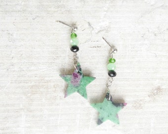 Ruby-zoisite Star Earrings