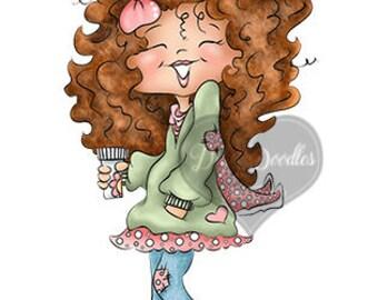 Instant Download Digital Stamp Digi Stamp Ginger Curly Girl by Dina Gerner
