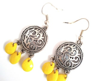 Handmade earrings with drops yellow