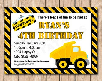 Dump Truck Birthday Invitation | Construction, Builder - 1.00 each printed or 10.00 DIY file