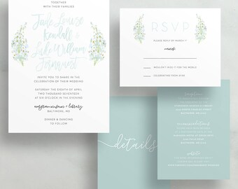 Simple Floral Watercolor Wedding Invites / Green Baby's Breath / Hand Lettering / Semi-Custom Wedding Invitation Suite / Printed Invitations