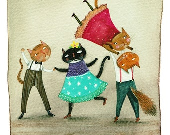 Strictly Cat-Room - Giclee Print - Whimsical Illustration - Watercolour - Cats