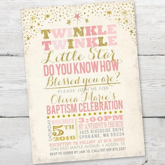 Twinkle Twinkle Little Star Baptism Invitation PRINTABLE