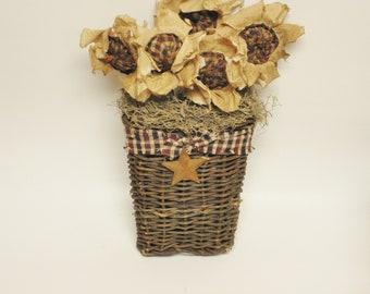 Patriotic Wall Basket, Primitive Americana Decor, Flower Arrangement, Country Farmhouse Decor, Independence Day Accent