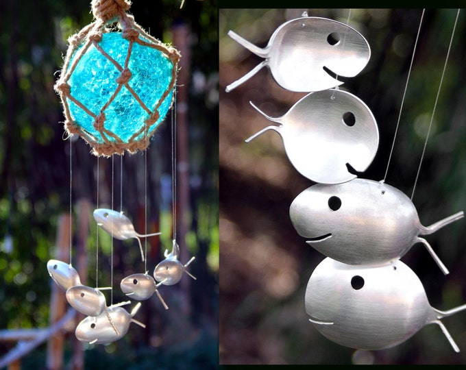 Blue Glass Sun Cathcher Fishing Float Wind Chimes, Silver Spoon Fish,sea Glass Windchime, Garden Sun Catcher Musical Art, Metal Silverware