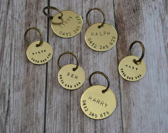 Hand Stamped Brass Dog Tag | Custom Made | Pet ID Tag | Personalized | Dog Collar Name Tag | Dog Tag for Dogs | Brass Gift | Keyring |