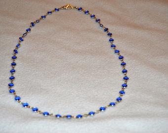 Sapphire Blue Swarovski Channel Set Necklace