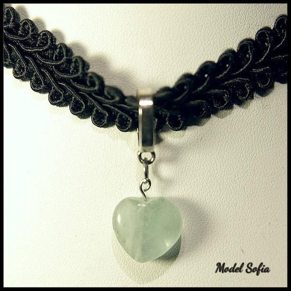 Aventurine Heart Lace Choker, Romantic Collection, Aventurine Necklace, Chakra Heart, Jewelry, Aventurine Necklace, Handmade, Lace Choker