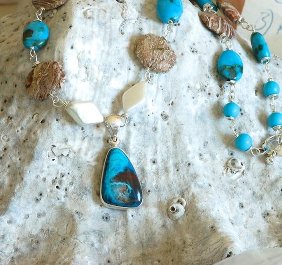 Ocean Wave Peruvian Opal Necklace