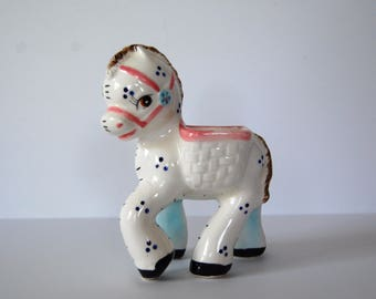 Vintage Baby Planter, Vintage Ceramic Pastel Pony, Horse Nursery Decor