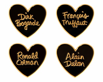 Classic film heart enamel lapel pin - Choose Alain Delon, François Truffaut, Ronald Colman, or Dirk Bogarde
