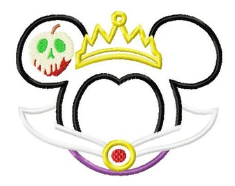 Character Inspired Evil Queen Detailed Embroidery Applique Design