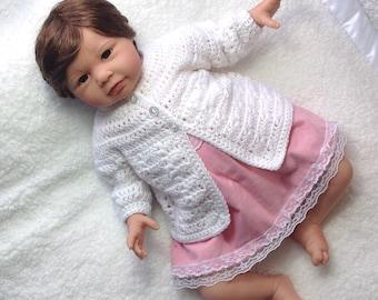 Newborn white cardigan - Infant matinee coat - Baby shower gift - Newborn baby coat - Infant white crochet jacket