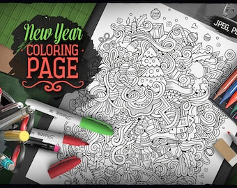 NEW YEAR Digital Coloring Page, Adult Coloring, Printable, Coloring sheet, Christmas Doodles Art, Happy Holidays Doodle, Digital Download