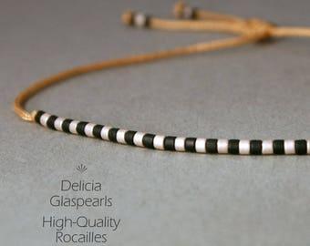 Stripe bracelet, fine bracelets, black + light gold/dark GOLD/grey-gold striped, size adjustable, thin friendship band