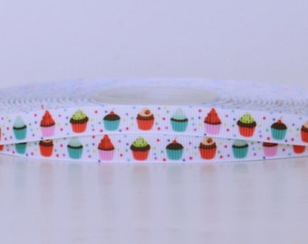 """Mini Cupcakes with Sprinkle Background Printed Grosgrain Ribbon 3/8"""" Scrapbooking HairBows Parties DIY Projects az299"""