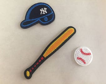 Baseball Embroidered Iron On Patch, sewing patch, baseball hat patch, baseball bat