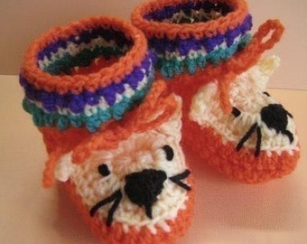 Tasmanian Tiger Booties for little tootsies (crochet patterns)