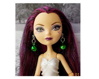 Doll  Green Jingle Bell Earrings, Monster Doll Green Earrings, Ever After High Green Bell Earrings, Bratz Dolls, Doll Christmas Earrings