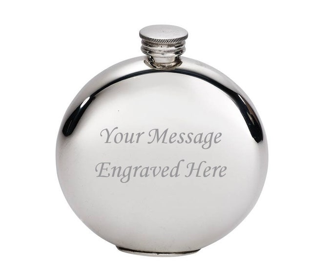 Personalised 4oz Plain Round Pewter Hip Flask Customised Engraved Message