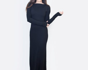 Women's Black Dresses | Boatneck Dress | Tall Maxi Dress | Jersey Dress | Ethically made in our USA loft | L415 & Co Clothing (#415-715)
