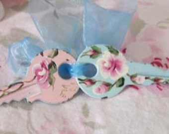 Spring,cottage chic,pink,blue, hand painted roses,keys, HP roses,memory,unique,custom colors available,