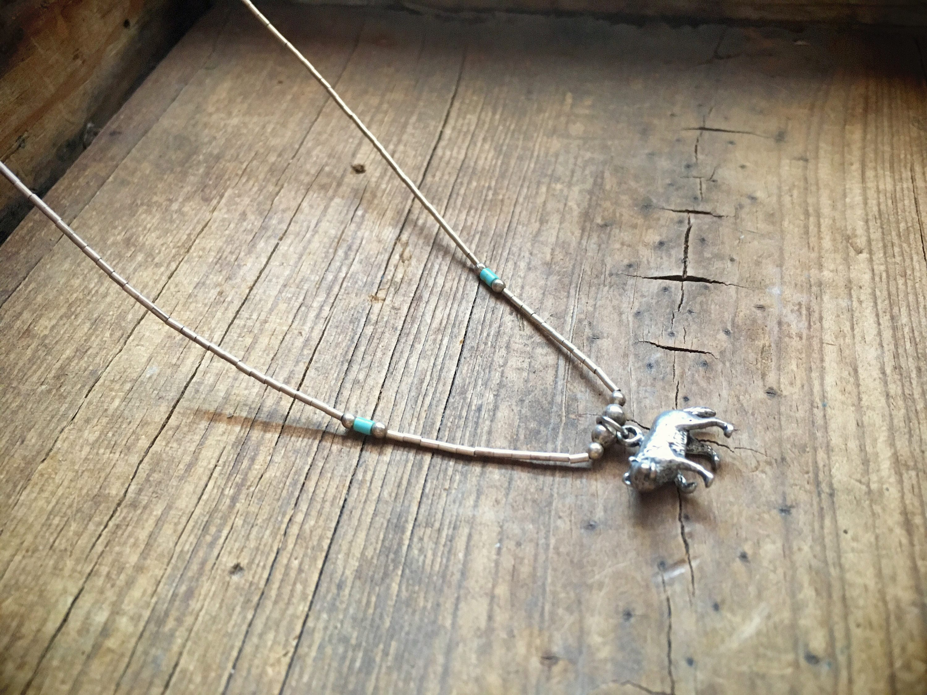 turquoise pin zuni on natural stabilized pendant signed silver three strand of necklace and sterling