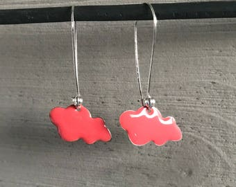 Pink sequin cloud enamel earrings