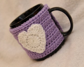 Heart Mug Cosy in Lilac/purple with White Heart (Crochet Handmade)  / Cup Cozy Valentines gift