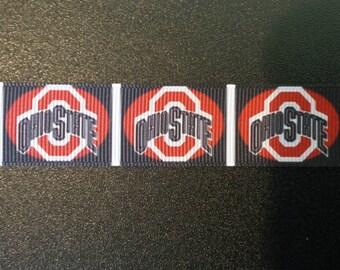 "7/8"" Ohio State Buckeyes Inspired Grosgrain Ribbon"