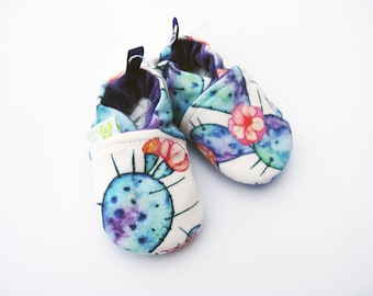Sale XS Organic Knits Vegan Cactus in Purple / All Fabric Soft Sole Baby Shoes / Babies