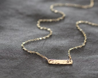 Gold Bar Necklace, Gold Bar, Initial Necklace, Tiny Bar, Small Bar, Dainty Gold Necklace, Delicate Gold Necklace