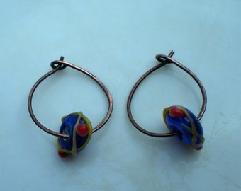 Handmade Pure Oxidized Copper Earrings with Lampwork Beads