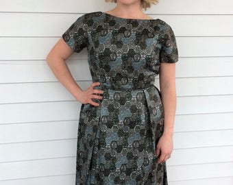 60s Print Dress Vintage 1960s Short Sleeve Green Blue S XS