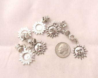 7 Pc Antique Silver Sun w/Face Euro Style Dangle Charm Set (B156b4)