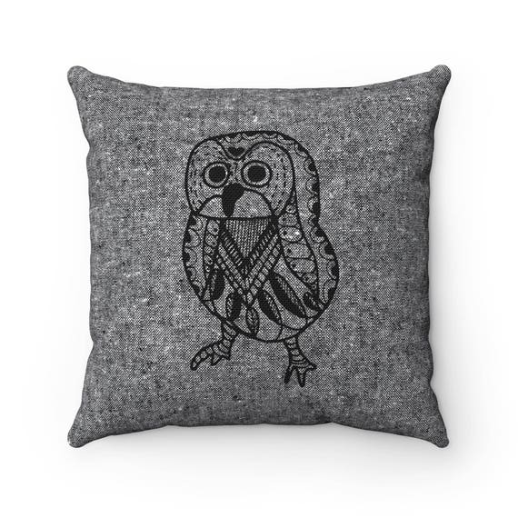 Scandinavian owl print pillow Woodland owl pillow Cushion