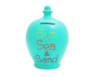 Terramundi Money Pot 'Sun Sea & Sand' Aqua