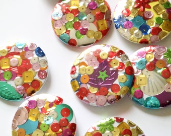 Sequin One Of A Kind Collage 45mm Badge Pin Button