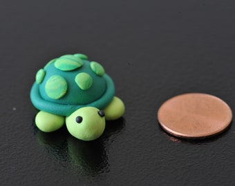 Miniature Polymer Clay Green Turle