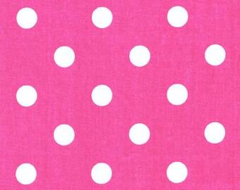 """SAMPLE SALE RUNNER  27""""  polka dot  Runner white on candy pink fuchsia 27"""" table runner"""