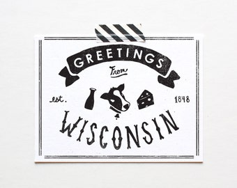 Screenprinted State of Wisconsin Postcard