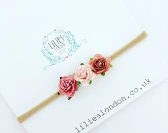 Dusky pink, rose headband