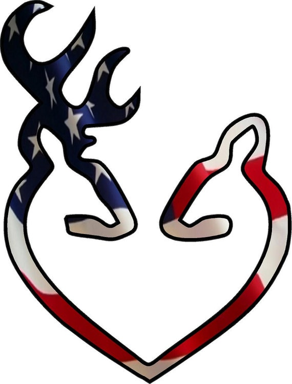 Browning Style Buck And Doe Heart American Flag Print