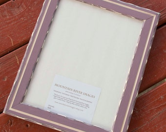1) 11x14 Rustic edged distressed pine frame with inner routered line .... plum... HANDMADE