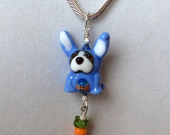 Easter Boston Terrier with Carrot Lampwork Necklace OOAK